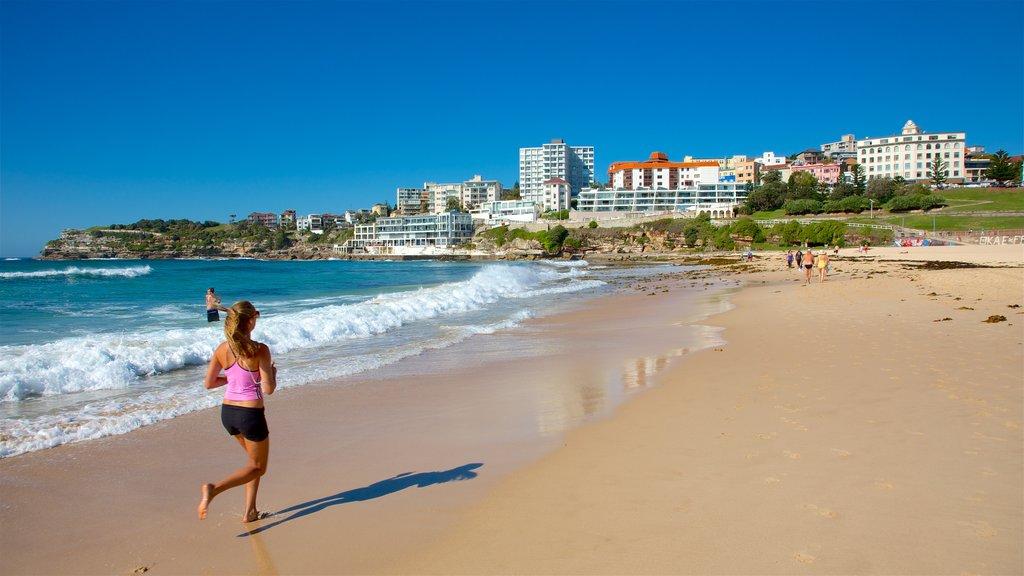 Bondi Beach which includes general coastal views, a beach and a coastal town