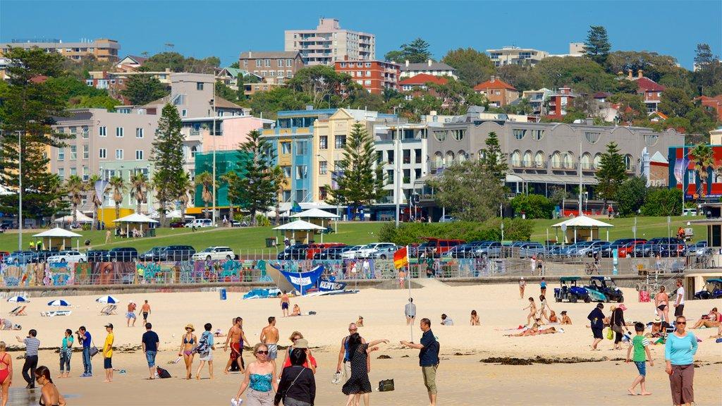 Bondi Beach showing general coastal views, a coastal town and a beach