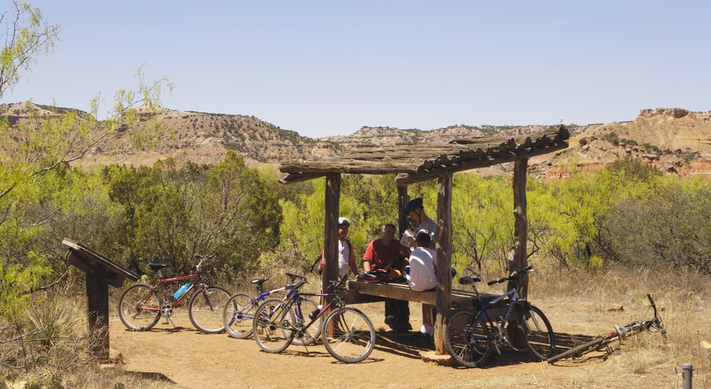 Canyon which includes mountain biking and desert views as well as a small group of people