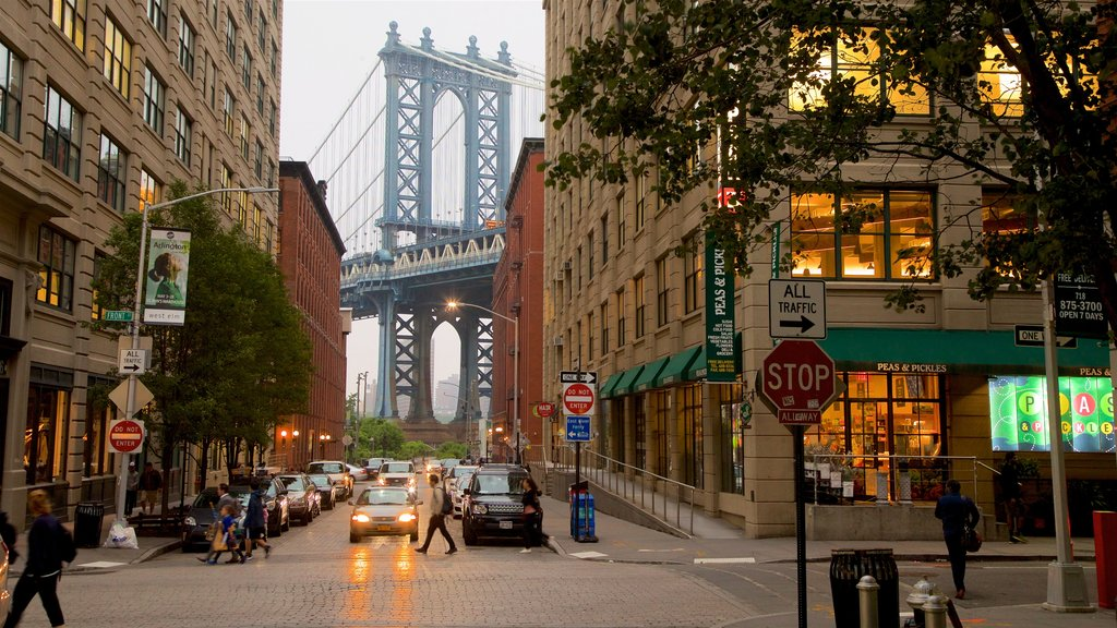 Downtown Brooklyn showing a city and a bridge