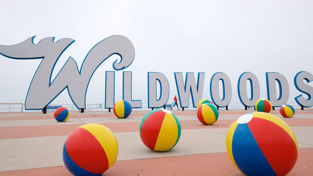 Wildwood Boardwalk featuring outdoor art and signage