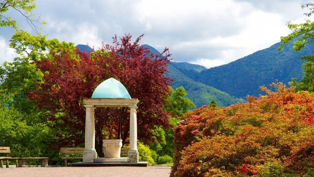Villa Taranto Botanical Garden showing mountains, wildflowers and heritage elements