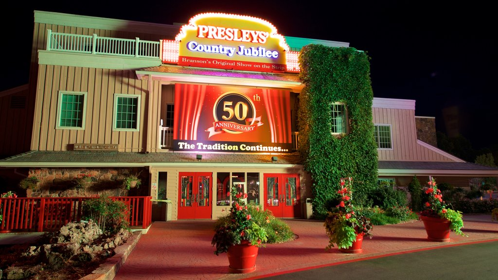 Presley\'s Country Jubilee Theater which includes flowers, night scenes and signage