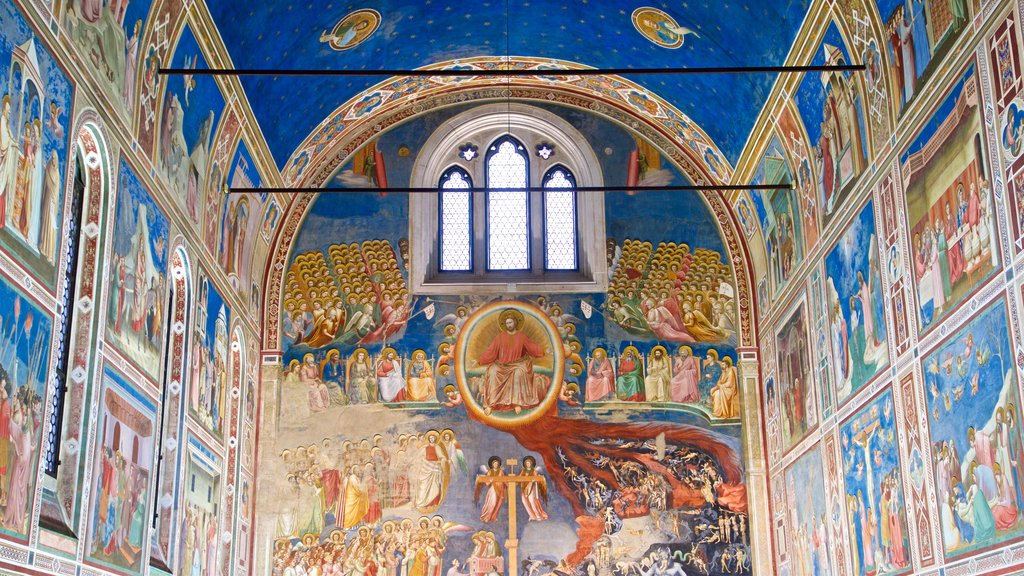 Scrovegni Chapel featuring art, religious elements and interior views