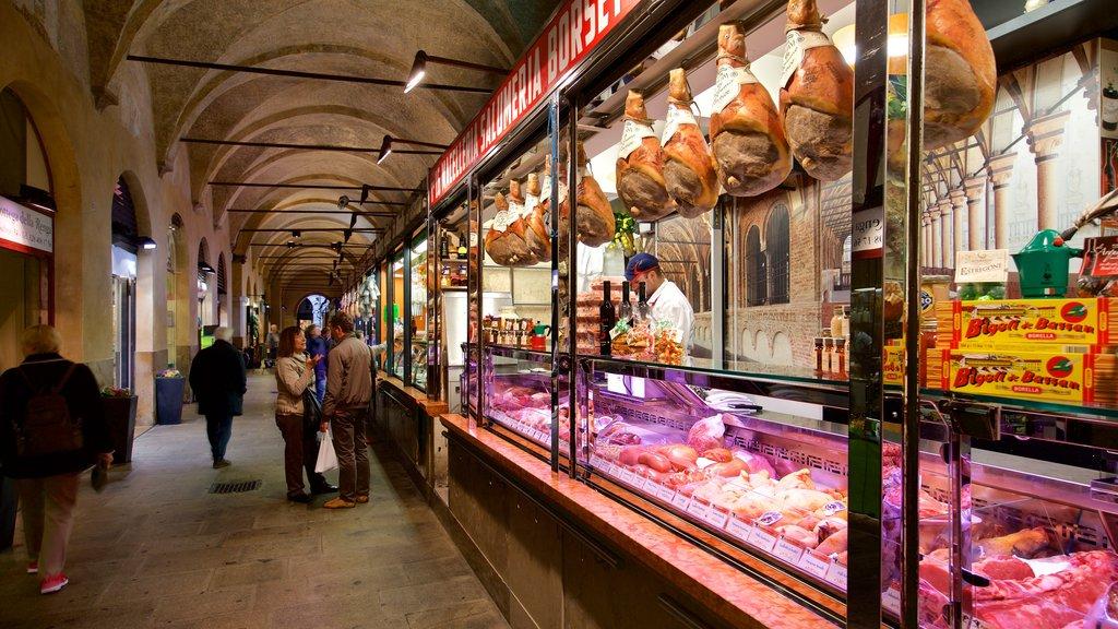 Palazzo della Ragione featuring interior views, food and markets