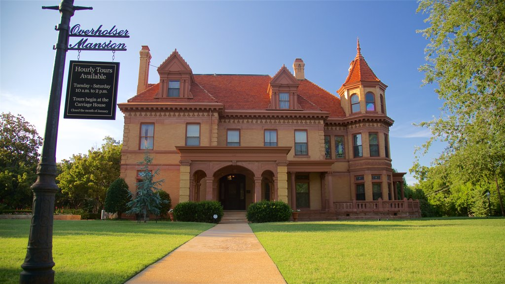 Overholser Mansion featuring a park, a house and heritage elements