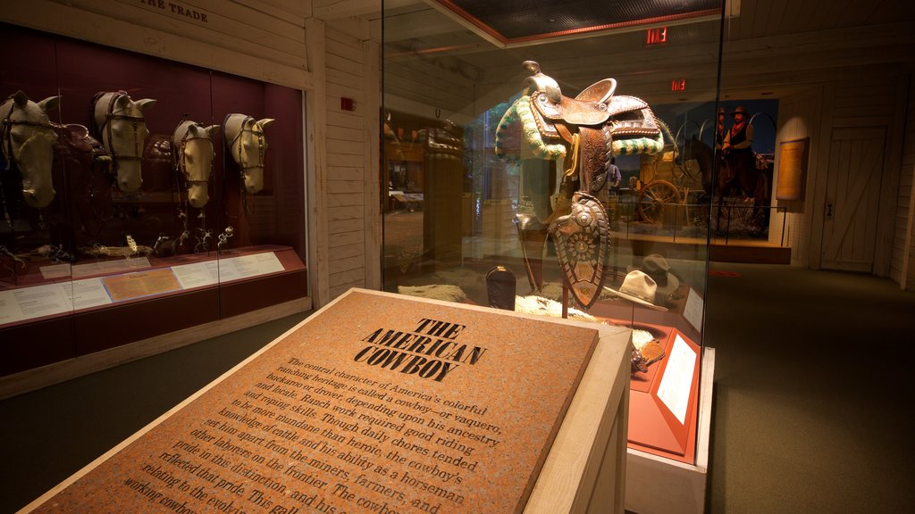 National Cowboy and Western Heritage Museum showing signage, interior views and heritage elements