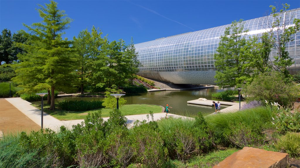 Myriad Botanical Gardens showing a park, a river or creek and modern architecture