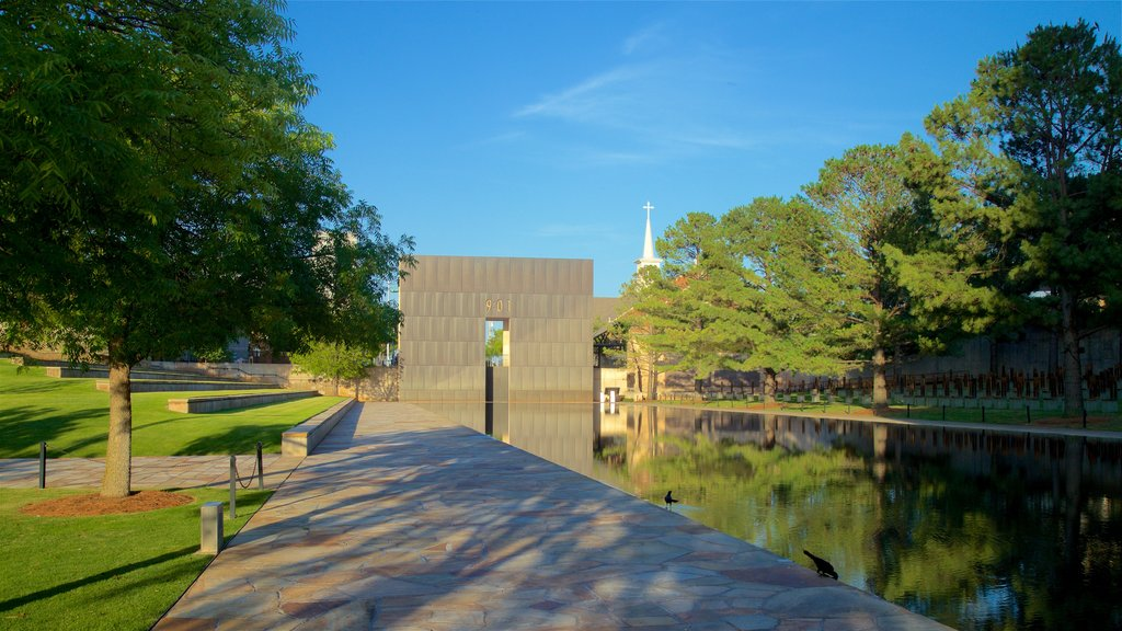 Oklahoma City National Memorial and Museum featuring a pond, a garden and heritage architecture