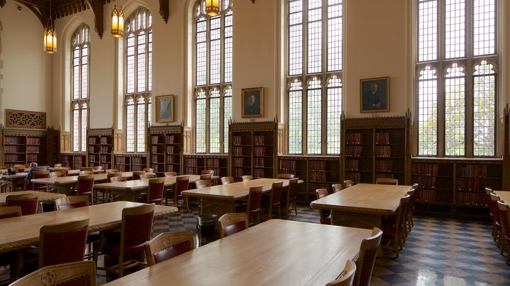 Bizzell Library showing heritage elements and interior views