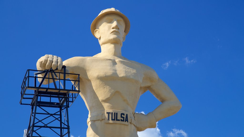 Golden Driller which includes outdoor art and a monument