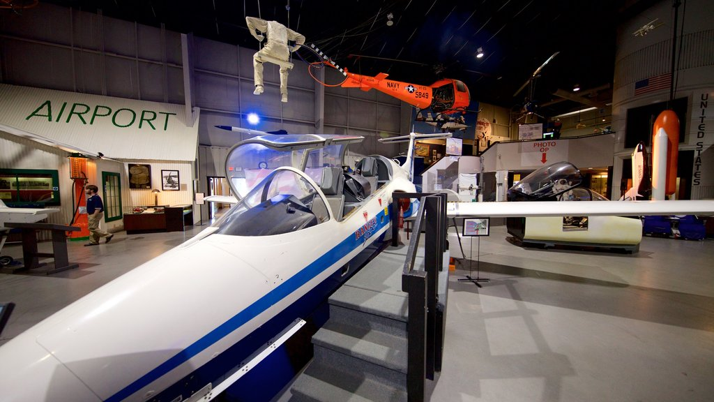 Tulsa Air and Space Museum & Planetarium featuring heritage elements and interior views