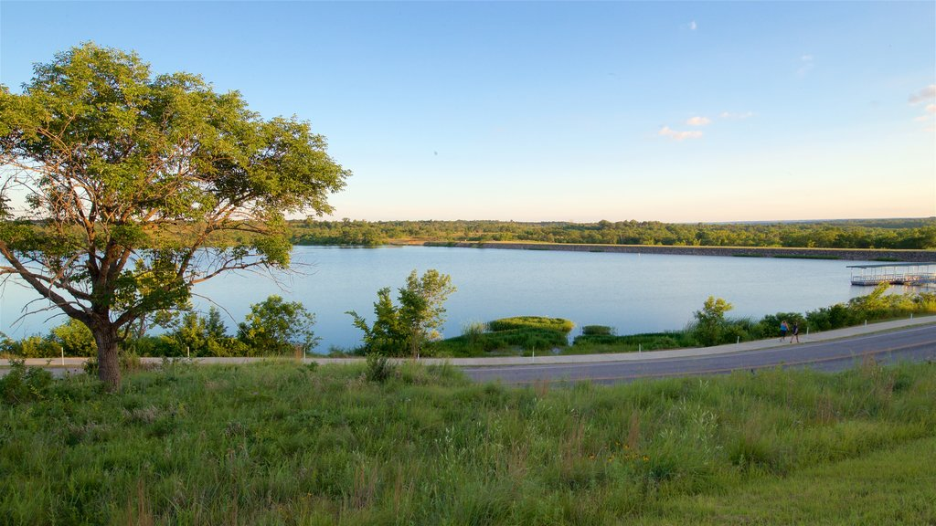 Veteran\'s Lake featuring a sunset, tranquil scenes and landscape views