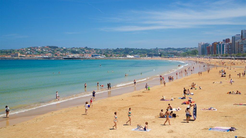 San Lorenzo Beach which includes a city, a beach and a coastal town