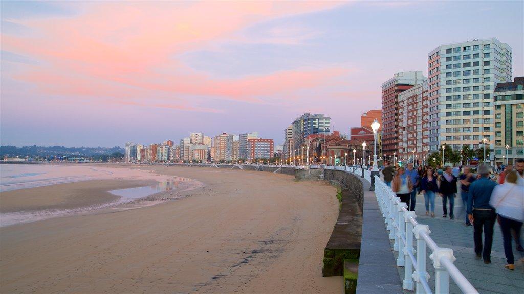 San Lorenzo Beach featuring a sunset, a city and general coastal views