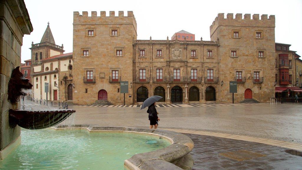 Palacio de Revillagigedo showing a square or plaza, street scenes and a fountain