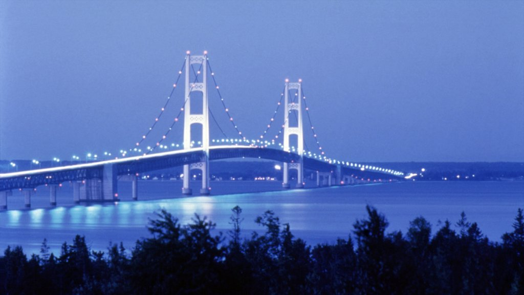 Mackinac Island which includes night scenes, island views and a bridge
