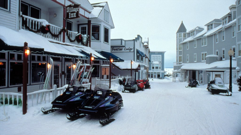 Mackinac Island which includes snowmobiling, street scenes and snow