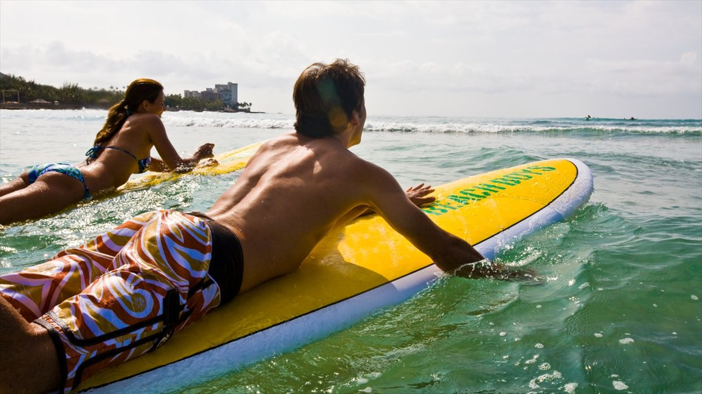 Waikiki which includes surfing, general coastal views and tropical scenes