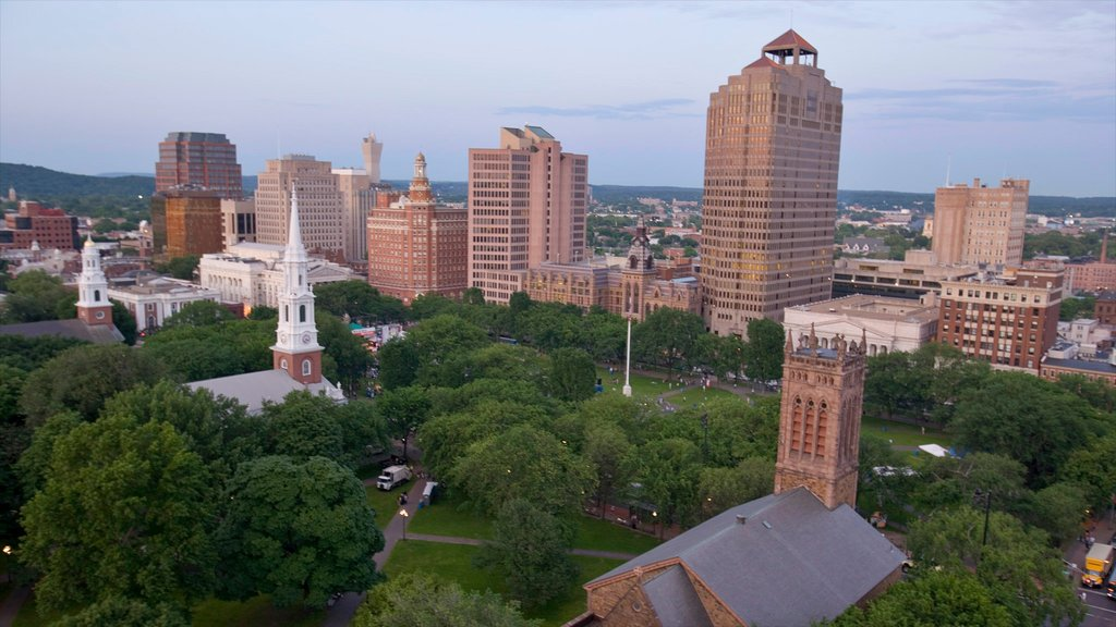 New Haven which includes city views, a skyscraper and skyline