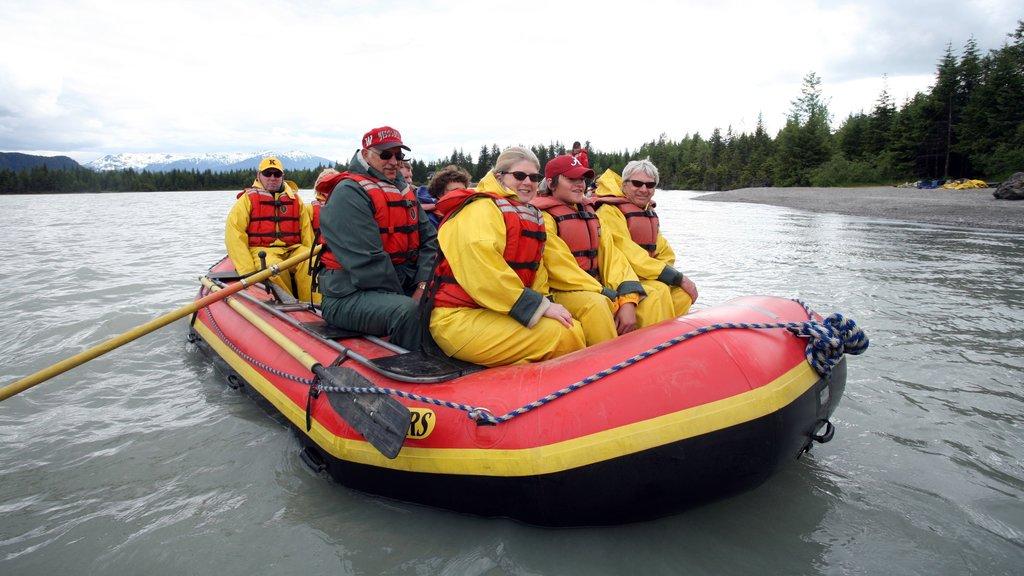Juneau showing a river or creek, rafting and general coastal views
