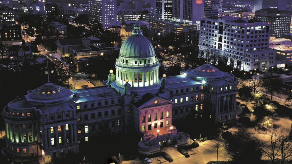 Jackson which includes night scenes, city views and heritage architecture