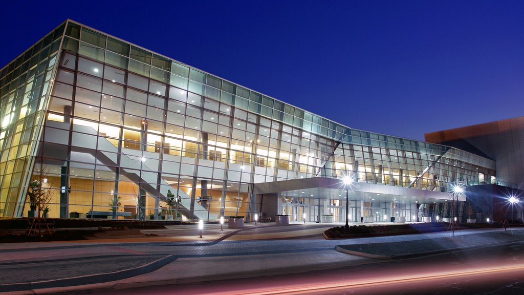 Jackson showing modern architecture, a city and night scenes