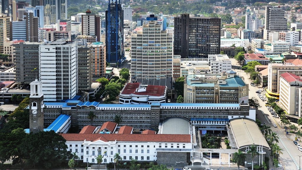 Nairobi which includes a high rise building, city views and a city