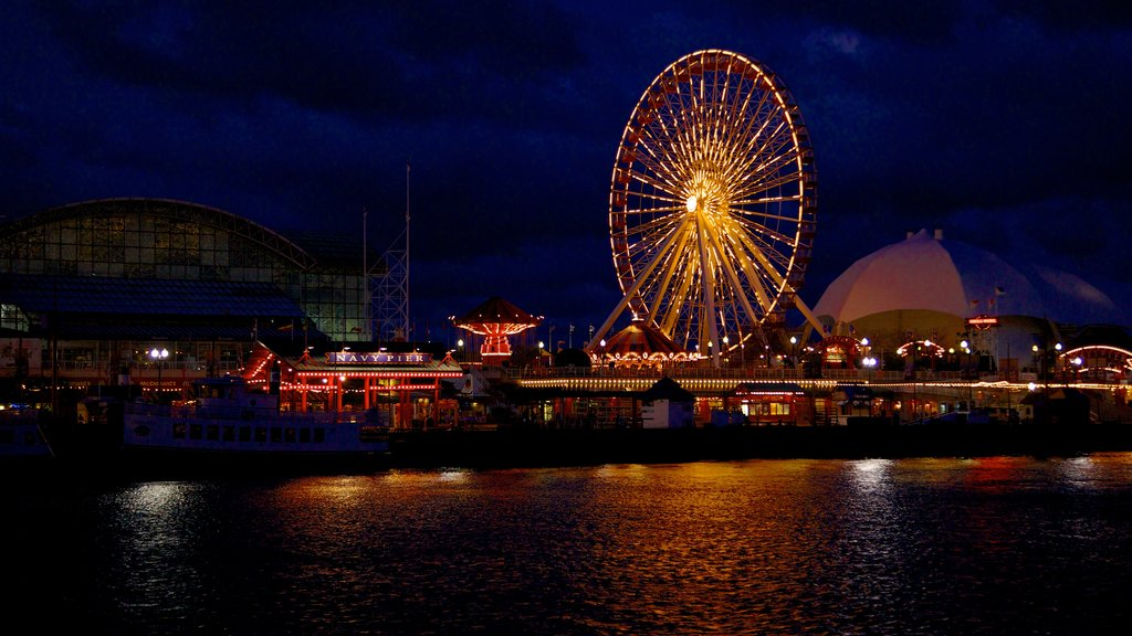 Navy Pier showing general coastal views, nightlife and a marina