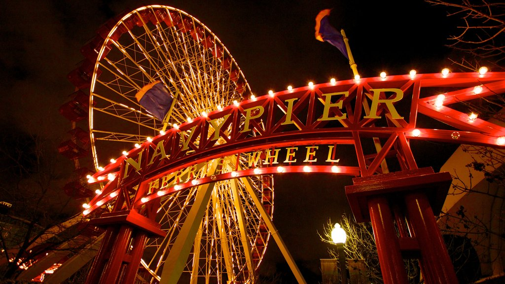 Navy Pier which includes signage, night scenes and rides
