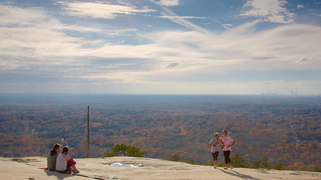 Stone Mountain Park showing hiking or walking, landscape views and forests