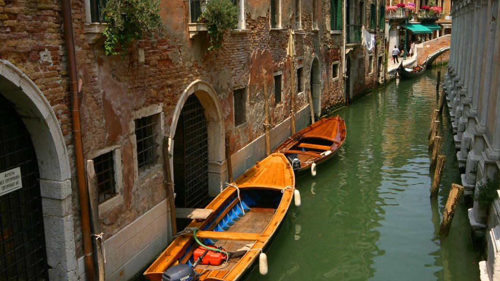 Venice showing a city, a gondola and street scenes