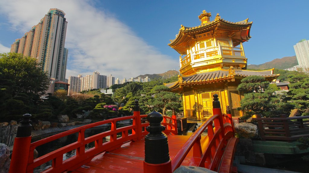 Hong Kong showing a temple or place of worship, heritage architecture and a city