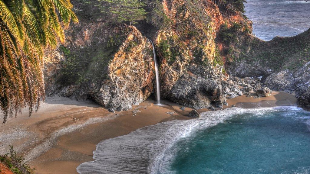 Pfeiffer Big Sur State Park which includes general coastal views, rocky coastline and a sandy beach