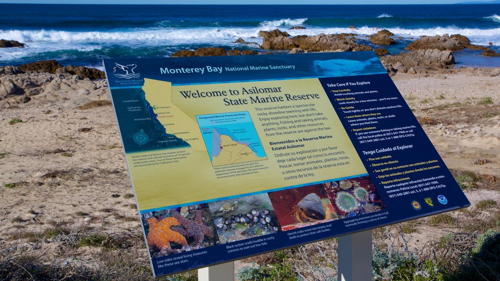 Asilomar State Beach featuring landscape views and signage