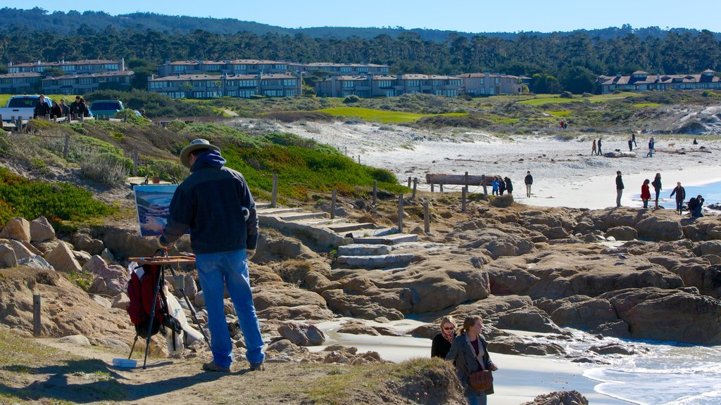 Asilomar State Beach showing rugged coastline, a small town or village and landscape views