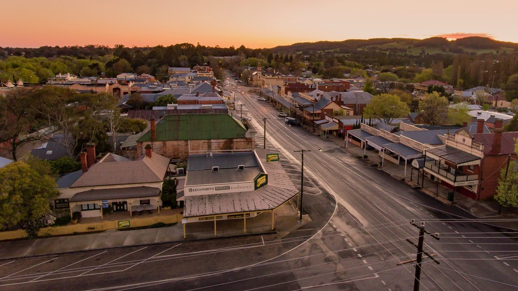 Beechworth featuring a small town or village, landscape views and a sunset