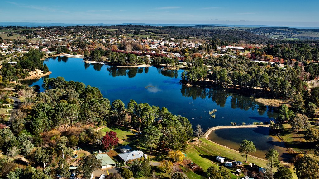 Beechworth featuring a lake or waterhole, a small town or village and landscape views