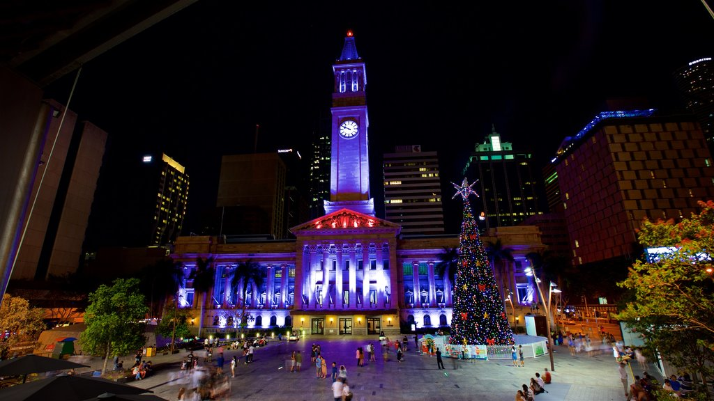 Brisbane City Hall featuring night scenes, heritage architecture and a square or plaza