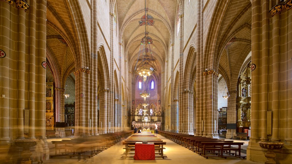 Pamplona Cathedral featuring a church or cathedral, heritage elements and interior views
