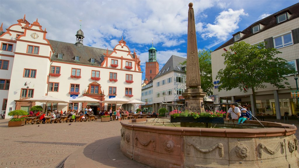 Darmstadt which includes a fountain and a square or plaza