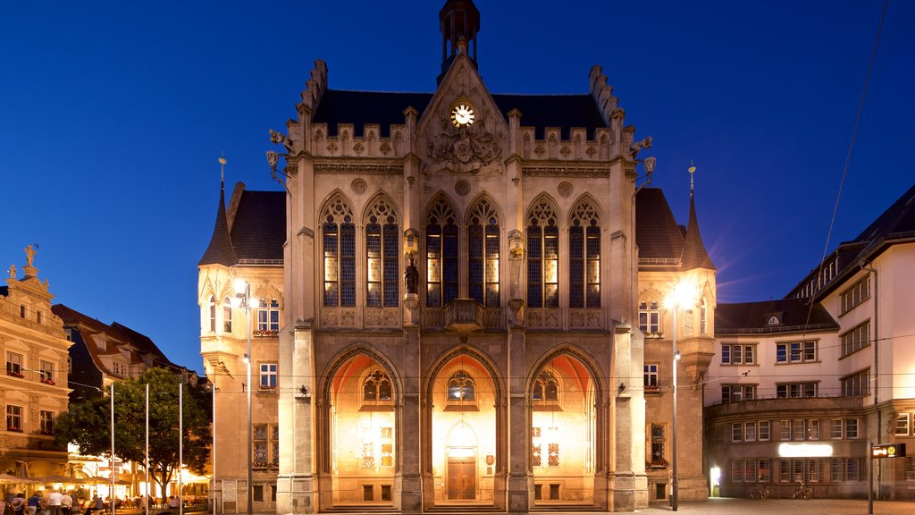 Rathaus which includes night scenes, a city and heritage architecture
