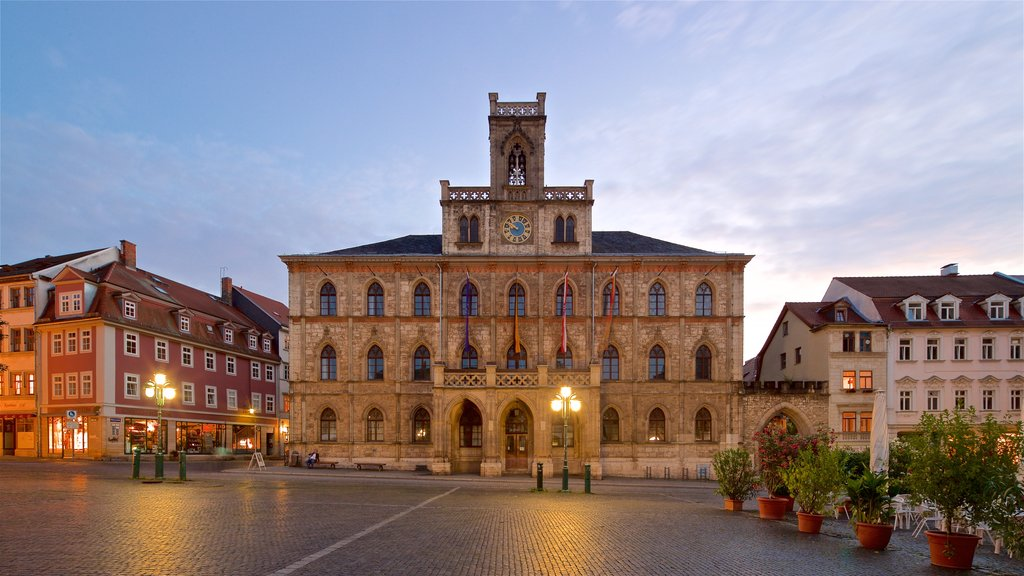 Weimar featuring a square or plaza, a sunset and heritage architecture