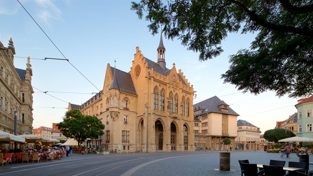 Rathaus which includes a sunset and heritage architecture