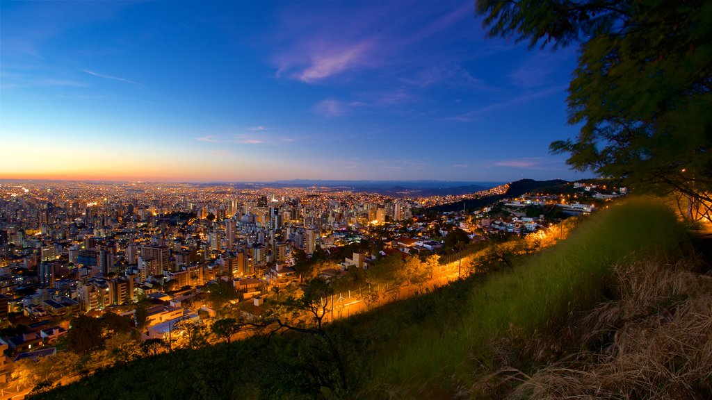 Belo Horizonte which includes night scenes, landscape views and a city