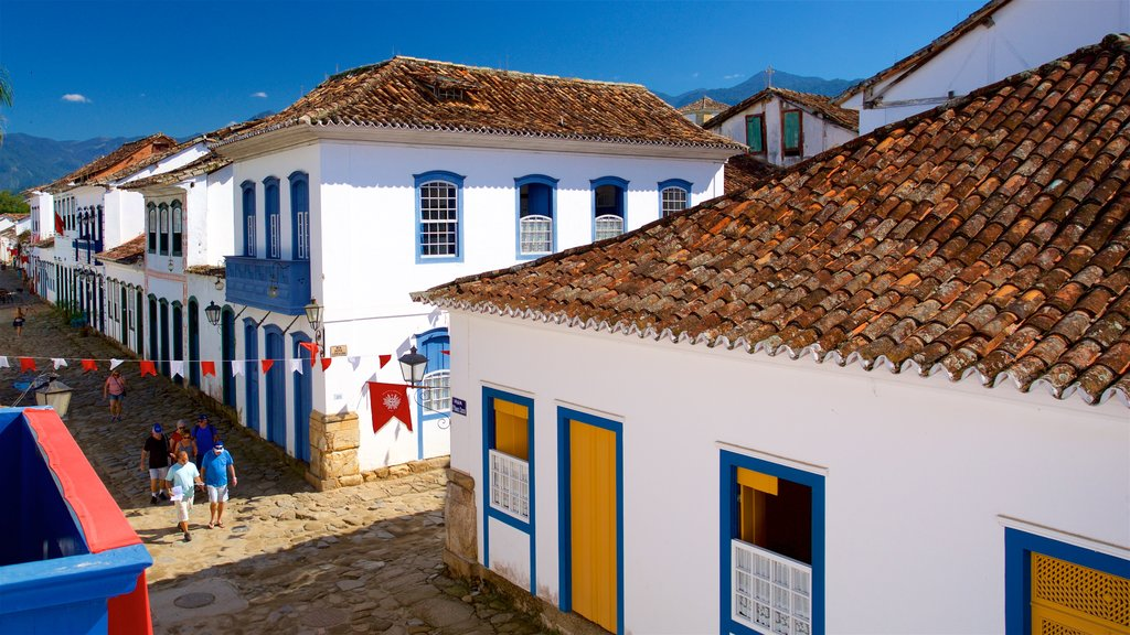 Paraty House of Culture which includes a small town or village as well as a small group of people