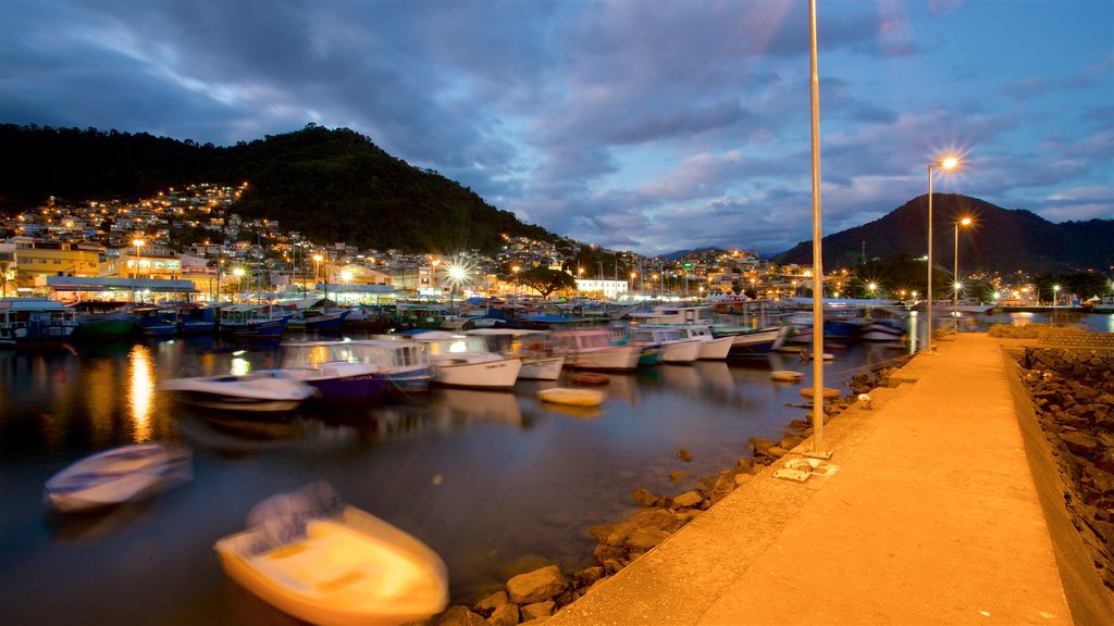 Angra dos Reis featuring a bay or harbor, night scenes and a coastal town