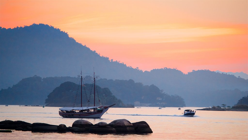 Angra dos Reis featuring boating, a sunset and a bay or harbor
