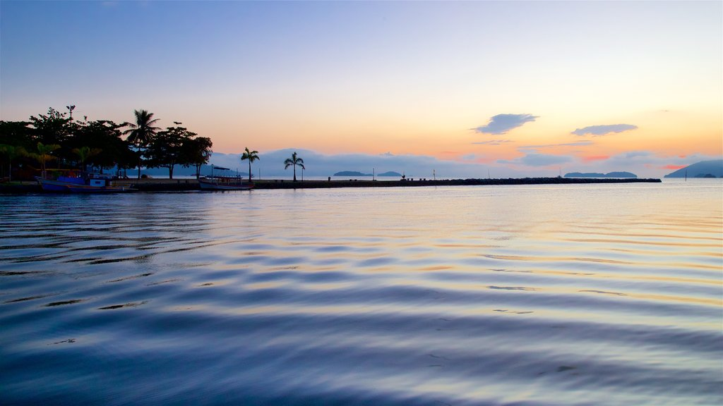 Paraty which includes a sunset and general coastal views