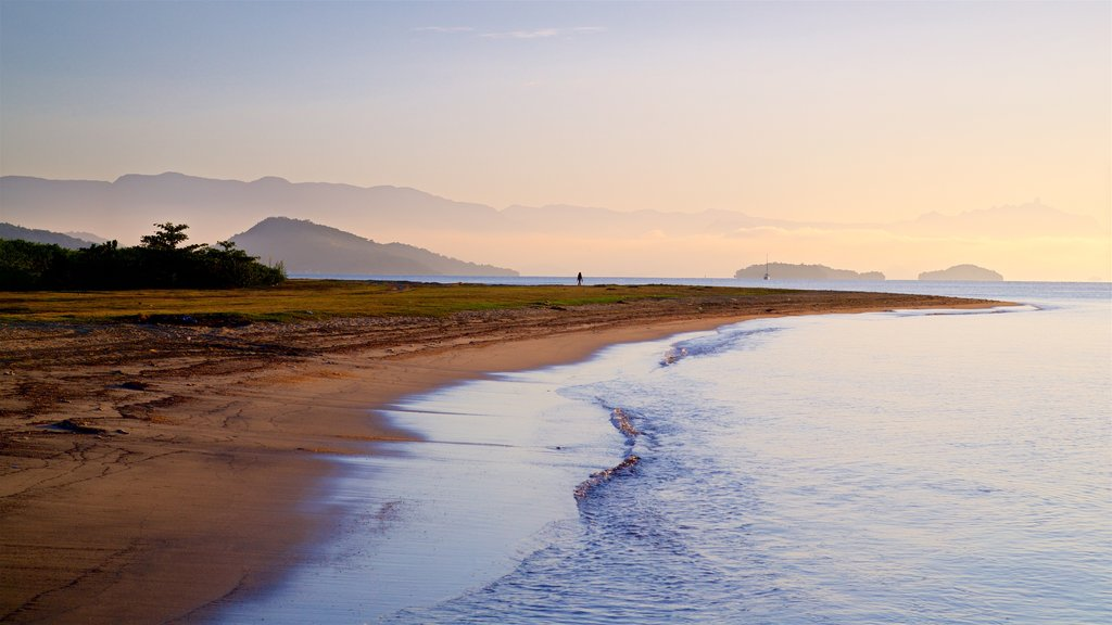 Paraty featuring general coastal views, a beach and a sunset